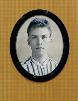 Porträtt, Videoinstallation av Anna Kindvall  i fönstret på Sveriges allmäna konstförenings lokaler i Stockholm