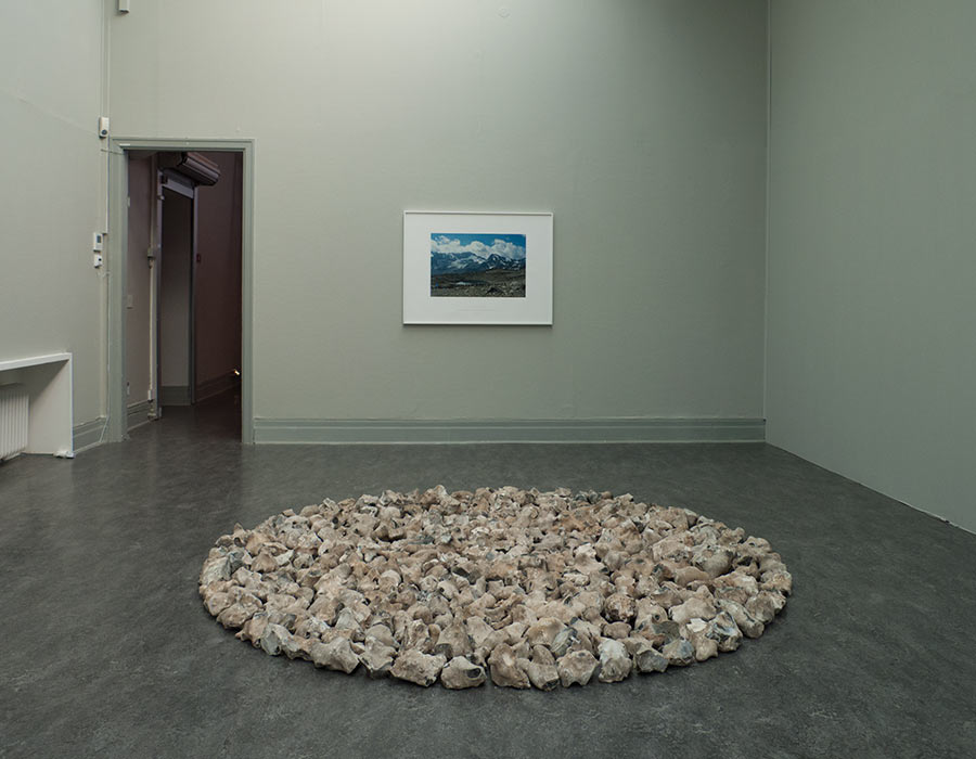 Engadine line and Breaky Bottom Flint Circle by Richard Long at Ystads Art Museum